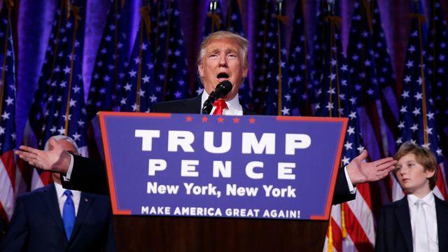 Donald Trump, 45e président des Etats-Unis, lors de son discours devant ses partisans à New York. [Carlo Allegri  - Reuters]