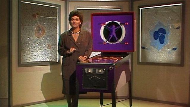 Catherine Noyer sur le plateau de Télescope spécial cancer en 1989. [RTS]