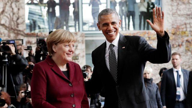 Angela Merkel et Barack Obama vendredi matin à Berlin. [Markus Schreiber - AP/Keystone]
