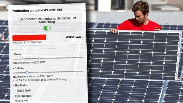 Combien d'éoliennes ou de panneaux solaires pour remplacer le nucléaire? [Keystone]