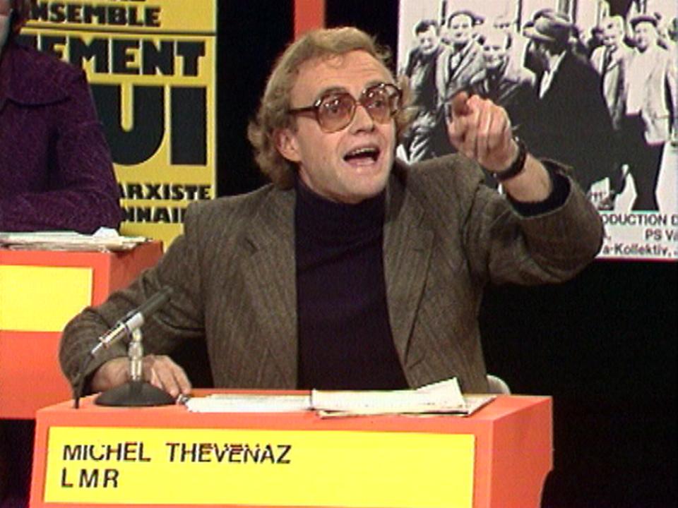 Michel Thévenaz, représentant de la Ligue marxiste-révolutionnaire, en 1976. [RTS]