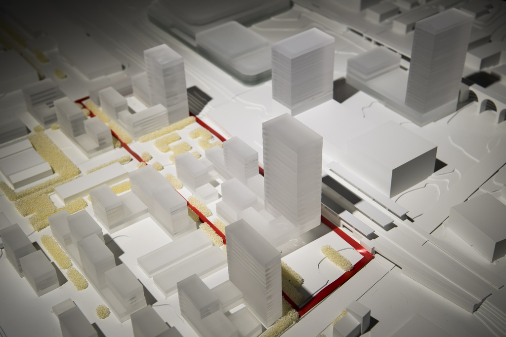 "Vue de la maquette de l'association ""Malley Demain"" en vue de la votation sur le plan de quartier intercommunal Malley-Gare."
