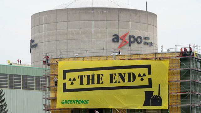 Une action des anti-nucléaires à Beznau en 2014. [Urs Flueeler - Keystone]