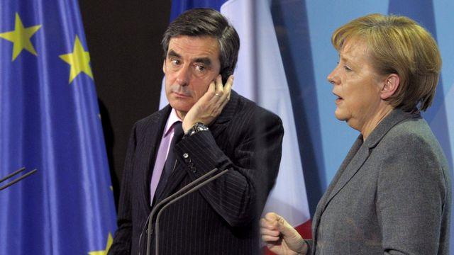 François Fillon avec Angela Merkel à Berlin, 10.03.2010. [Soeren Stache - EPA/Keystone]