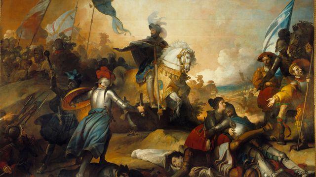 Représentation de la bataille de Marignan, en 1515, par le peintre Alexandre Fragonard (1780-1850). [Josse/Leemage - AFP]
