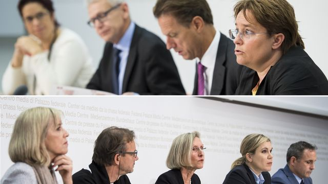 Les défenseurs (haut) et les opposants à la RIE III ont présenté leurs arguments mardi. [Anthony Anex/Peter Schneider - keystone]