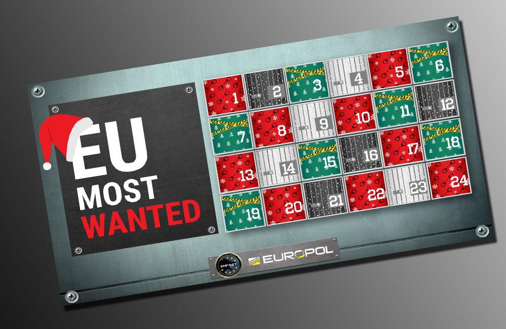 Dans son calendrier de l'Avent, Europol présente... des criminels en fuite