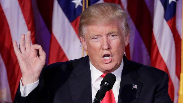 Donald Trump lors de son premier discours après l'élection du 9 novembre. [John Locher - Keystone]
