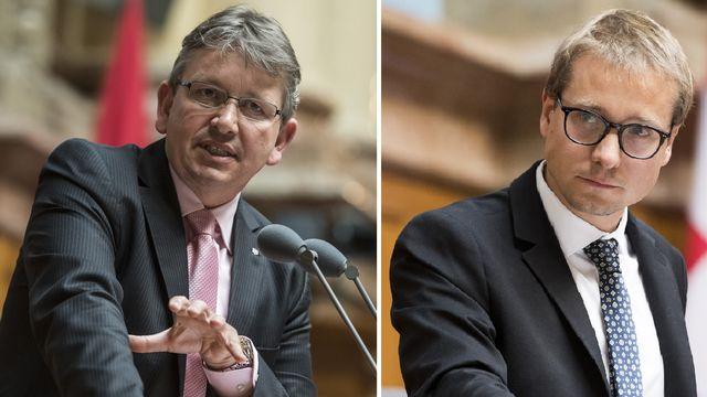 Raymond Clottu (UDC-NE) et Philippe Nantermod (PLR-VS). [Alessandro della Valle/Anthony Anex - keystone]