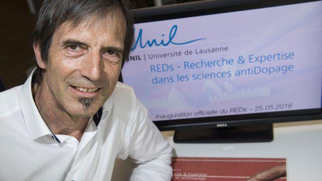 Le directeur du centre de Recherche et d'Expertise des sciences anti-Dopage (REDs), Martial Saugy, lors de son inauguration ce mercredi 25 mai 2016 a l'UNIL. [Jean-Christophe Bott - Keystone]