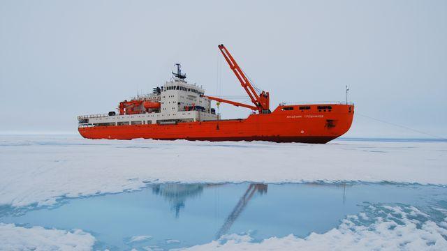 Le navire scientifique russe Akademic Treshnikov, affrété pour l'occasion, partira du Cap, en Afrique du Sud. [AARI]