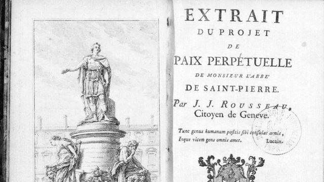 """Frontispice de l'""""Extrait du projet de Paix perpétuelle de Monsieur l'abbé de Saint-Pierre"""" de Jean-Jacques Rousseau. [Roger-Viollet - Collection Roger-Viollet]"""