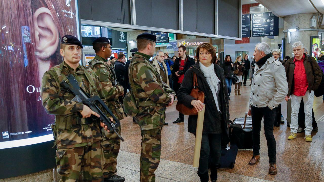 Des militaires en patrouille dans gare de Lyon-Part Dieu en janvier 2015. [Robert Pratta - Reuters]