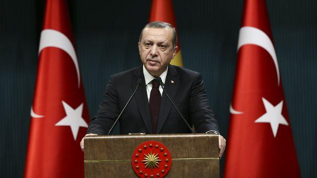 Recep Tayyip Erdogan en conférence de presse, ce 27 décembre 2016 à Ankara. [Murat Kula / ANADOLU AGENCY]