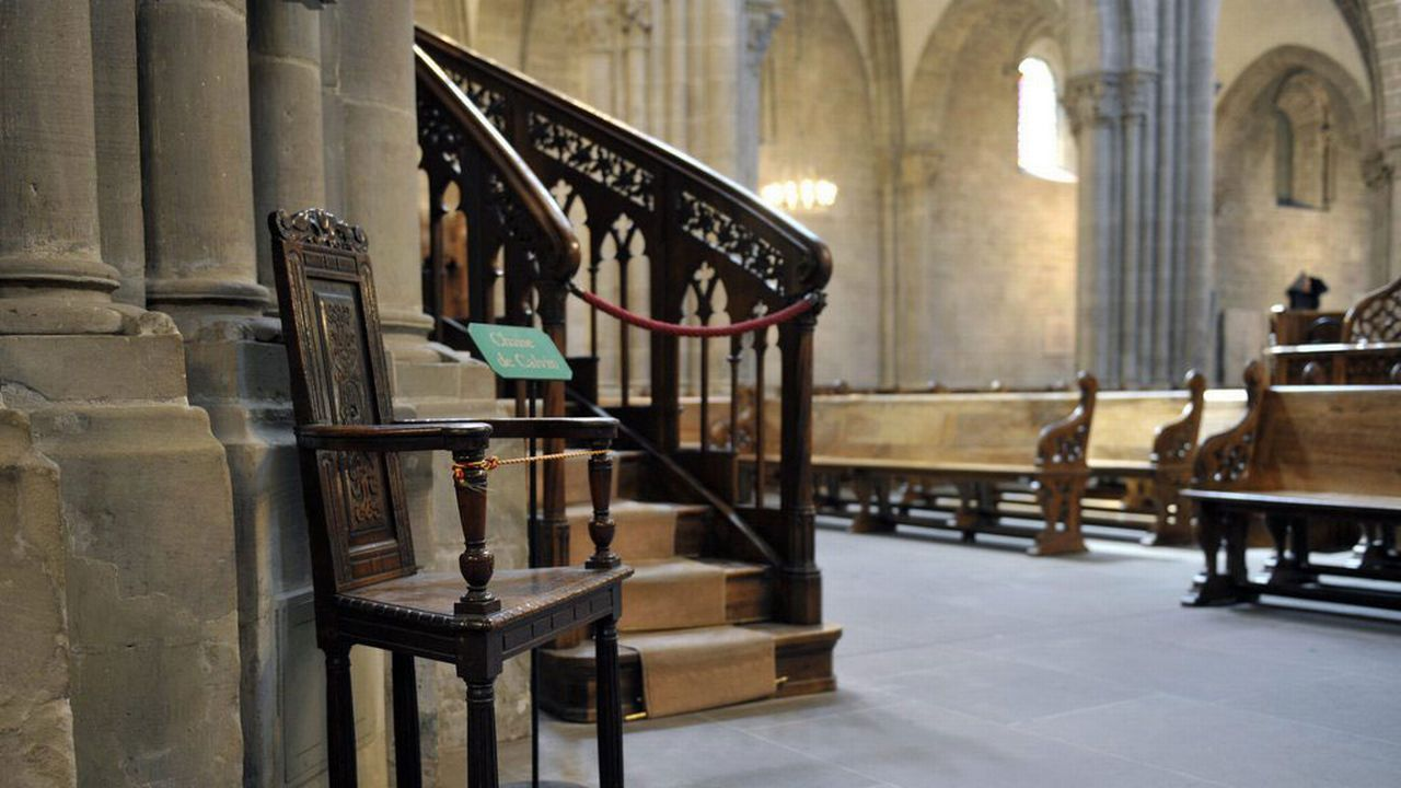 La chaise du réformateur Jean Calvin dans la cathédrale de Genève. [Martial Trezzini - Keystone]