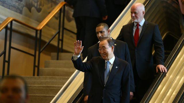 Le secrétaire général de l'ONU Ban Ki-moon aux Nations Unies à New York, le 30 décembre 2016, lors de ses adieux. [Volkan Furuncu / Anadolu Agency  - AFP]