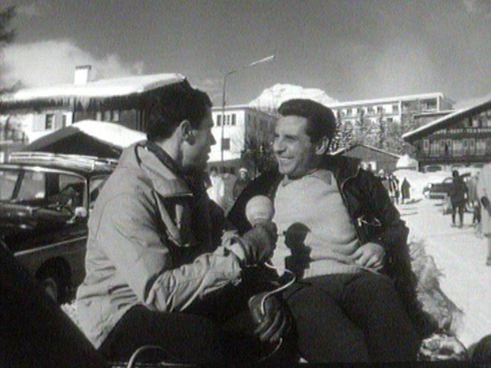 Gilbert Bécaud à Crans-Montana au début des années 60. [RTS]