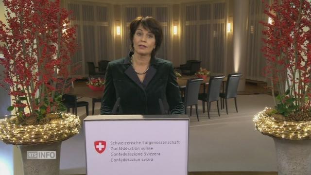 """Doris Leuthard souhaite """"paix"""" et """"sérénité"""" à celles et ceux qui vivent dans la peur des attentats [RTS]"""
