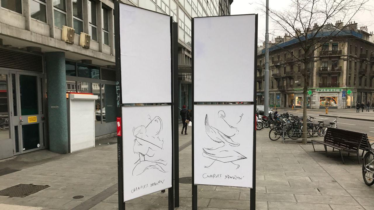 La SGA a recouvert de blanc les panneaux d'affichage genevois le 30 décembre dernier. [Tamara Muncanovic - RTS]