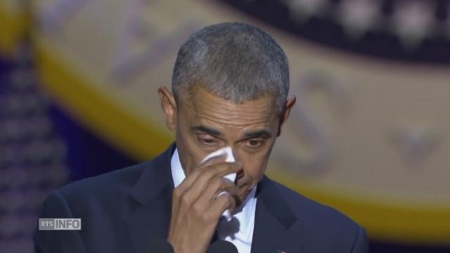 En rendant hommage à sa femme, Barack Obama laisse échapper une larme [RTS]