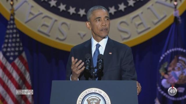 Barack Obama a fait son discours d'adieu devant 18'000 personnes à Chicago [RTS]