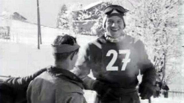 Le skieur neuchâtelois le Grand Georges court au Lauberhorn en 1954. [RTS]