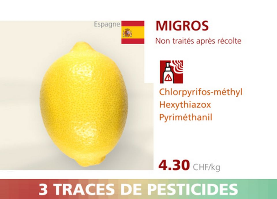Citron - Migros - 3 pesticides. [RTS]