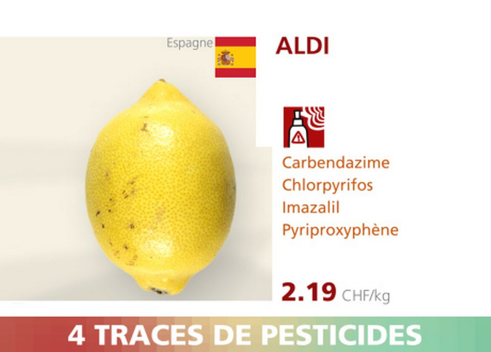 Citron - Aldi - 4 pesticides. [RTS]