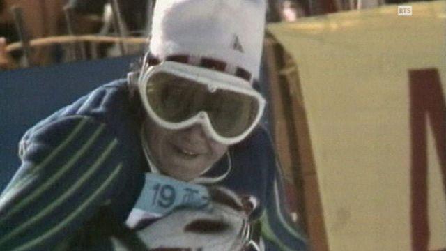 Lise-Marie Morerod à l'arrivée du slalom des championnats du monde de St-Moritz en 1974. [RTS]