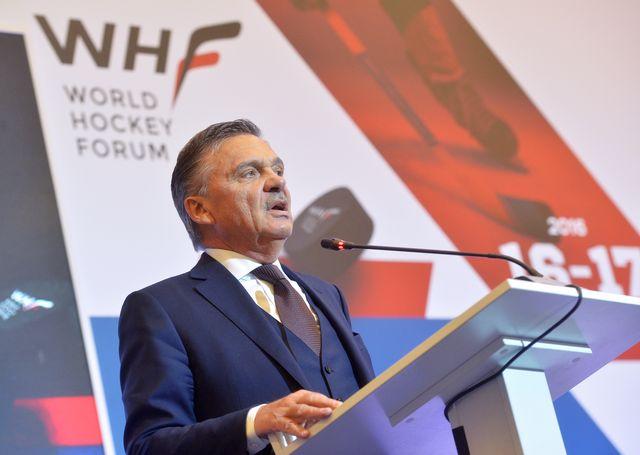 Le Suisse René Fasel est à la tête de l'IIHF depuis 1994. [Alexey Kudenko - AFP]