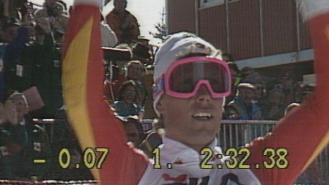 Pirmin Zurbriggen champion du monde de géant à Crans-Montana en 1987. [RTS]