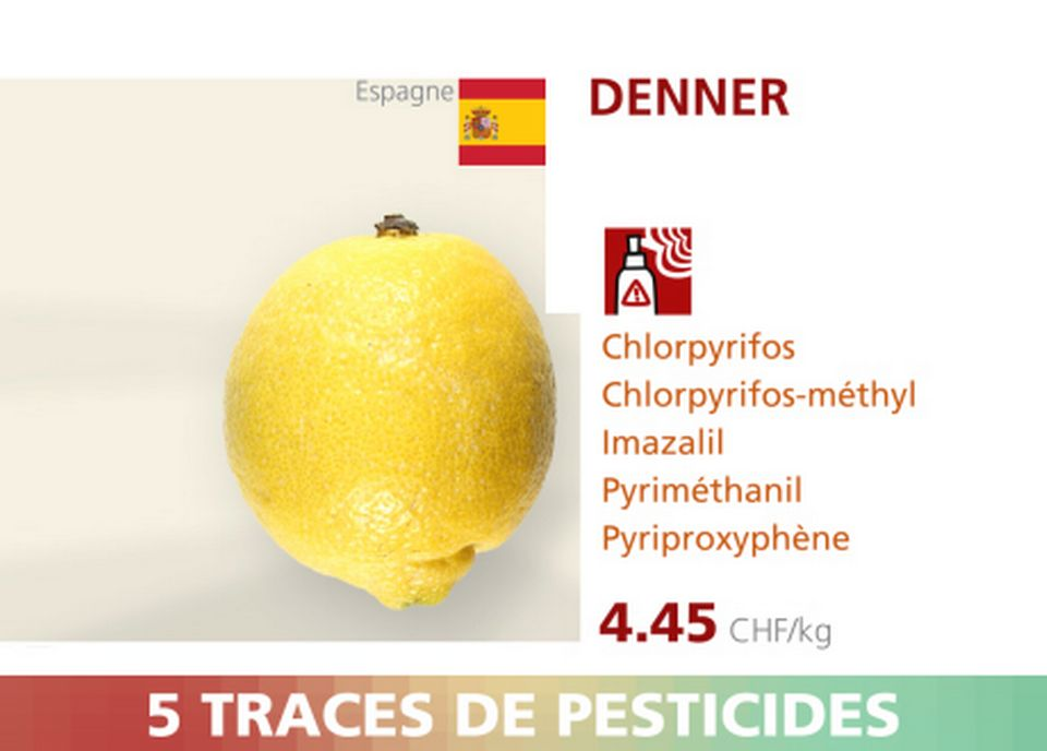Citron - Denner - 5 pesticides.