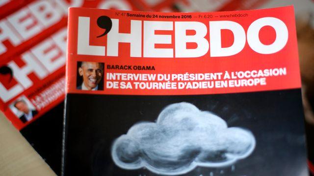 Un exemplaire du magazine hebdomadaire L'Hebdo. [Laurent Gillieron - keystone]