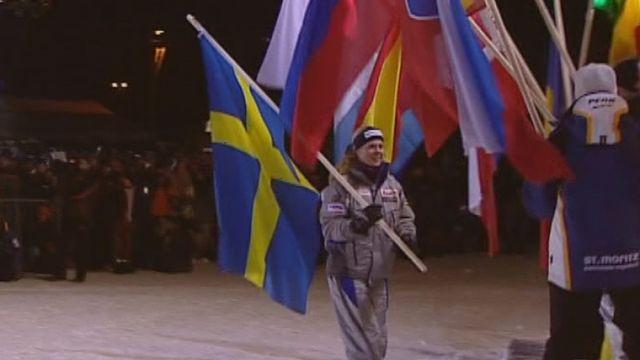 Cérémonie d'ouverture des championnats du monde de ski alpin de St-Moritz 2003. [RTS]