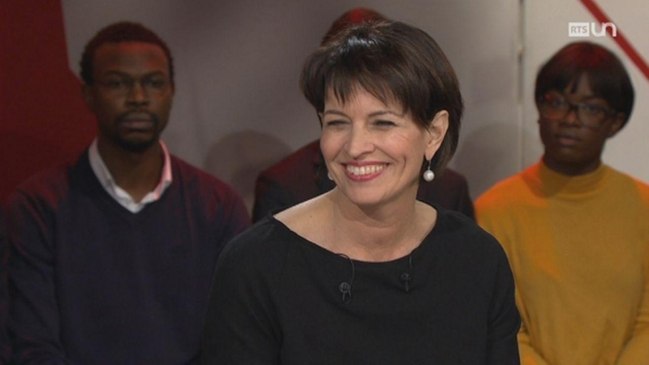 Doris Leuthard, la présidente de la Confédération, grande invitée d'Infrarouge [RTS]