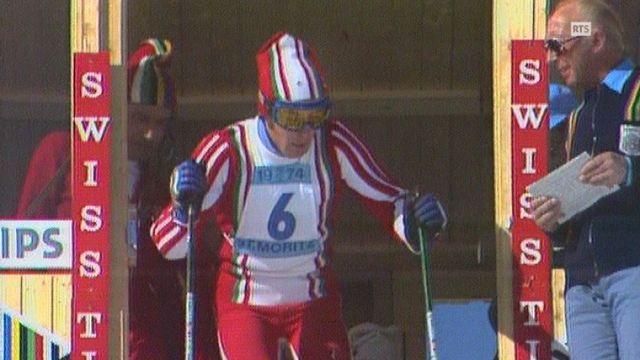 Gustavo Thöni au départ du slalom des mondiaux de St-Moritz en 1974. [RTS]