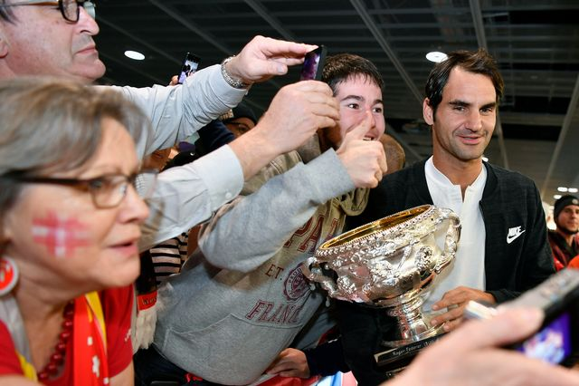 Roger Federer, tout sourire comme à son habitude. [Walter Bieri - Keystone]