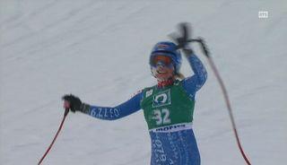 Lara Gut au terme de la descente de St-Moritz en février 2008. [RTS]
