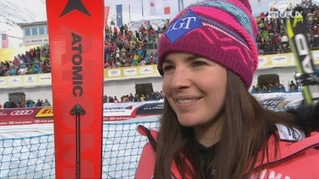 Mondiaux de St-Moritz, Super-G: Tina Weirather, médaillée d'argent, au micro de la RTS [RTS]