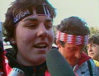 Michela Figini interviewée après sa victoire à Bormio en 1985 [RTS]