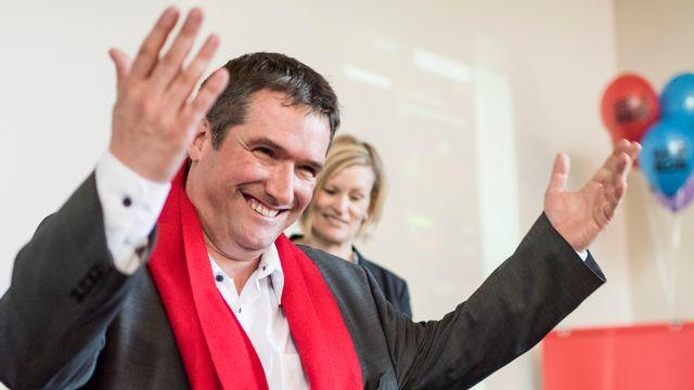 Le président du PS Christian Levrat jubile: le peuple suisse a refusé la réforme de l'imposition des entreprises RIE III. [Alessandro della Valle - Keystone]