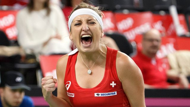 Timea Bacsinszky après sa victoire importante contre Kristina Mladenovic. [Salvatore Di Nolfi - Keystone]