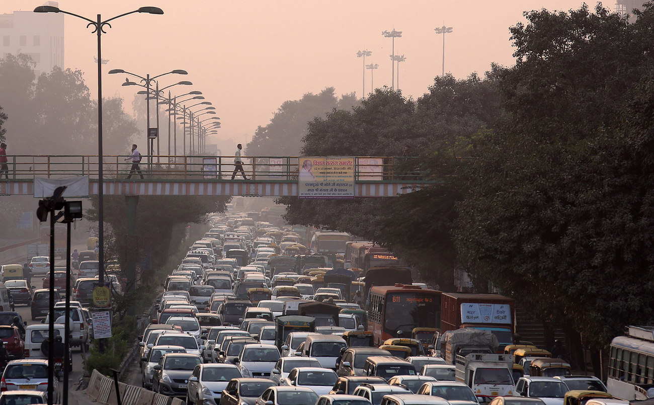 Un embouteillage dans la capitale indienne, New Delhi.