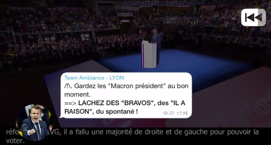 La vidéo synchronise le discours et les messages reçus au même moment par les militants lors du meeting d'Emmanuel Macron à Lyon.