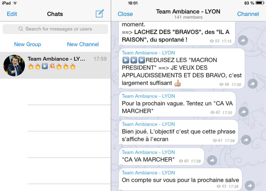 """Les mots d'ordre reçus et repris par la """"Team Ambiance"""" durant le discours d'Emmanuel Macron."""