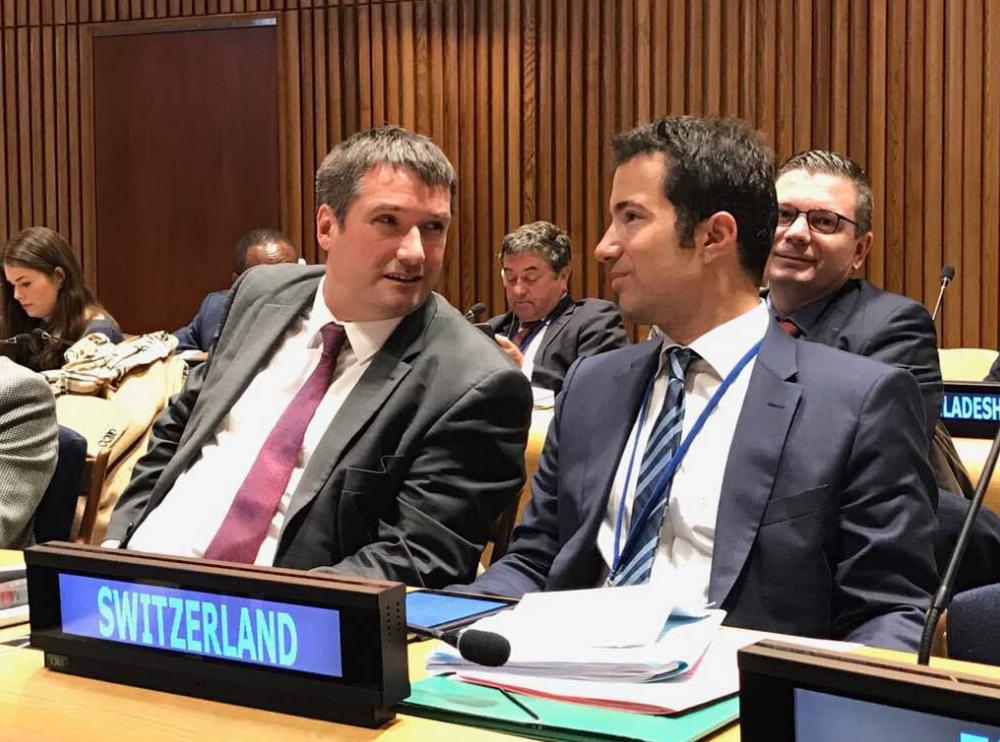 Christian Levrat et Andrea Caroni lors d'une réunion à New York.
