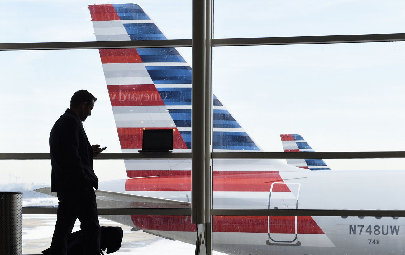 Un passager devant un avion de la compagnie American Airlines à l'aéroport Ronald Reagan de Washington, aux Etats-Unis (image d'illustration).