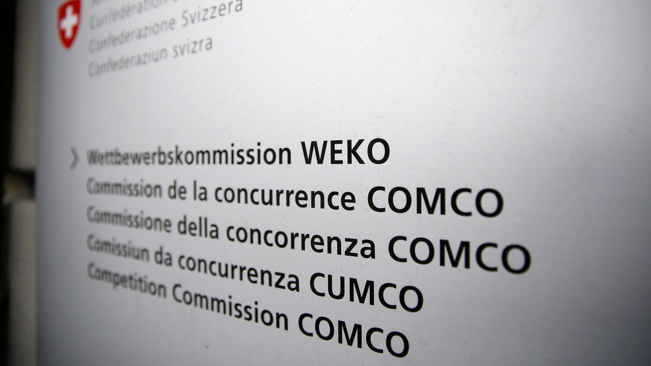 Le logo de la Commission de la concurrence (Comco), à Berne. [Peter Klaunzer - Keystone]