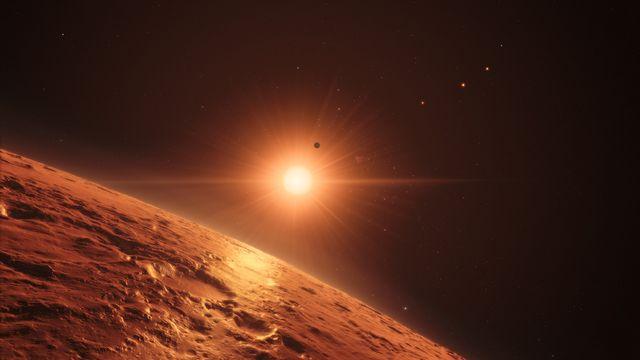 L'étoile Trappist-1 éclaire l'une des sept planètes qui l'entoure. [M. Kornmesser/spaceengine.org - ESO]