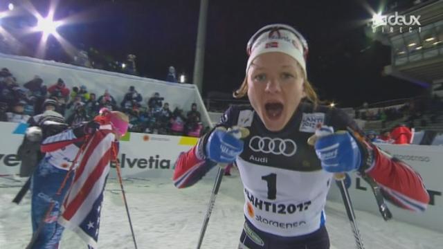 Mondiaux de Lahti (FIN): fond, finale sprint dames: Maiken Caspersen Falla (NOR) s'impose devant Jessica Diggins (USA) et Kikkan Randall (USA) [RTS]